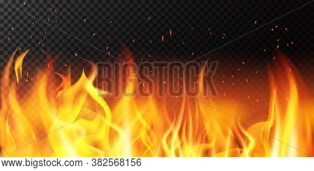 Realistic Fire. Flame Bright Border, Fiery Sparkles Burning Banner, Hot Red Flaming Decoration Vecto