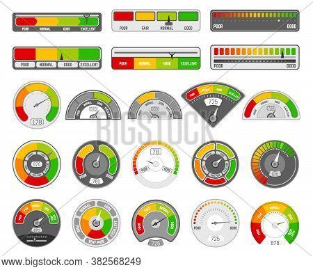 Speedometer Indicator Level. Quality Rating Indication, Goods Grade Tachometer Indicators, Satisfact