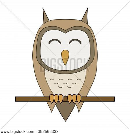 Vector Illustration Of Cartoon Owl Sitting On A Branch Isolated On White Background