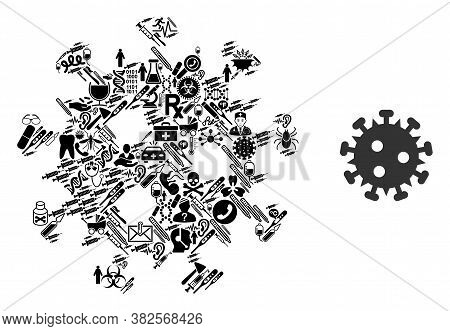 Mosaic Hiv Virus From Health Icons And Basic Icon. Mosaic Vector Hiv Virus Is Designed From Health C