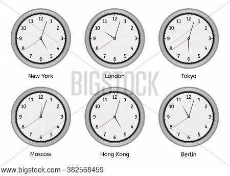 Time Zone Clocks. Modern Wall Round Clock Face, Time Zones Day And Night Clock, World Big Cities Tim