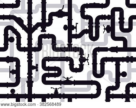 Water Pipes Pattern. Industry Pipeline Heating System, Engineering Water Tube Seamless Pattern, Pipe