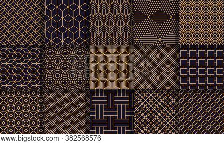 Geometric Seamless Patterns. Graphics Style Striped Texture, Vintage Maze Patterns, Geometric Stripe