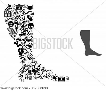Mosaic Leg From Health Icons And Basic Icon. Mosaic Vector Leg Is Formed From Medical Icons. Abstrac