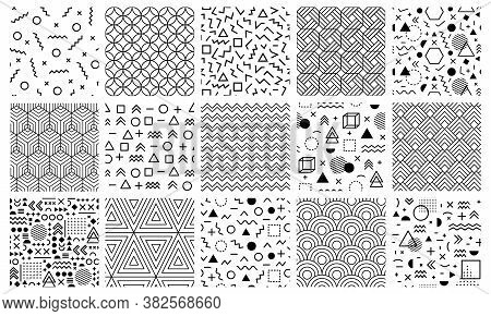 Memphis Geometric Patterns. Seamless 80s Abstract Maze Patterns, 90s Style Memphis Pattern, Geometri
