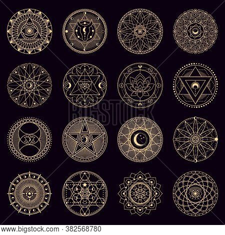 Mystery Spell Circle. Golden Mystical Alchemy Witchcraft Circular Emblems, Occult Geometry Signs, Ci