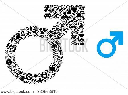Mosaic Male Symbol With Medic Symbols And Basic Icon. Mosaic Vector Male Symbol Is Formed With Healt