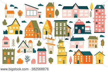 Cute Tiny Houses. Cartoon Small Town Houses, Minimalism City Buildings, Minimal Suburban Residential