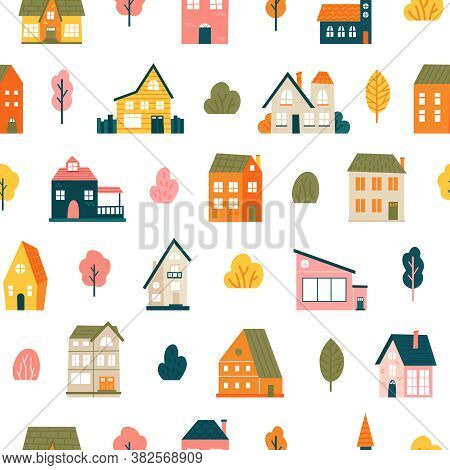 House Pattern. Cute Tiny Town Houses Seamless Backdrop, Minimalist Village, Residential City Houses