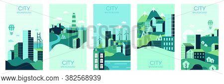 Village House Templates. Tiny Town Houses, Urban Landscape Backdrop, Social Media Minimalist Town Vi