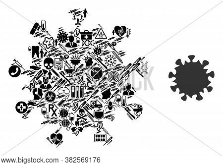 Mosaic Mers Virus Of Health Care Items And Basic Icon. Mosaic Vector Mers Virus Is Created With Heal