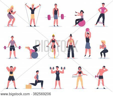Sport People. Young Athletes At Sport Gym, Male Female Fitness Workout Characters Training And Exerc