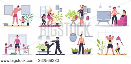 Home Family Fitness. Mother, Father And Kids Exercising At Home, Workout Activities, Families Health
