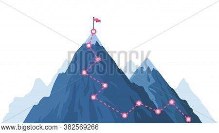 Mountain Progression Path. Climbing Progress Route, Mountain Peak Overcoming, Mountain Climbing Path