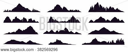Mountains Silhouette. Mountain Peak, Hills Tops, Berg And Mountain Valley Silhouette, Tibet Or Alps