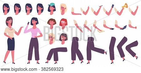 Female Cartoon Character. Woman Body Constructor, Girl With Clothes, Hairstyle, Hand Gestures And Fa