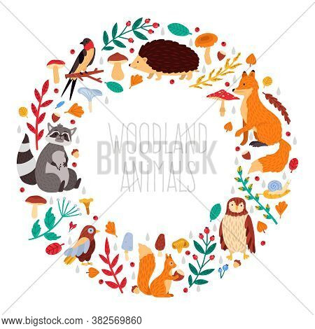 Autumn Animals Wreath. Cute Cartoon Autumn Animals, Leaves And Mushrooms, Woodland Birds And Animals