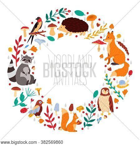 Autumn Animals Wreath. Cute Cartoon Autumn Animals, Leaves And Mushrooms, Woodland Birds And Animals