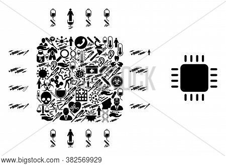 Mosaic Processor From Medical Icons And Basic Icon. Mosaic Vector Processor Is Formed From Medical S