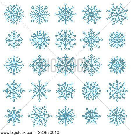Snowflake Stars. Winter Frost Snowflakes, Xmas Snowfall Ornament, Blue Ice Stars Silhouette Vector I