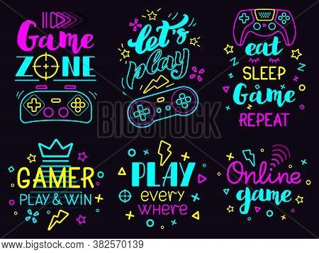 Neon Video Game Phrases. Online Game Console Lettering, Modern Gamer Joystick Concept, Video Games L