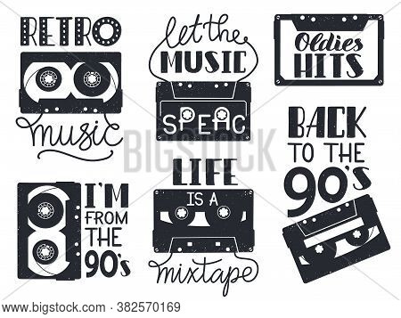 Retro Cassette Lettering. Hand Drawn 90s Retro Music Audio Cassette Tape Phrases, 80s Audio Record T