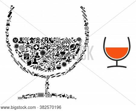 Mosaic Remedy Glass Of Health Care Symbols And Basic Icon. Mosaic Vector Remedy Glass Is Designed Of