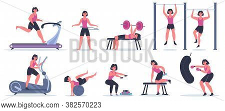 Women At Gym. Female Sport Fitness Character, Workout Girl Run, Pull Up And Squat, Training Exercise