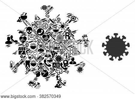 Mosaic Sars Virus From Medical Symbols And Basic Icon. Mosaic Vector Sars Virus Is Created From Heal