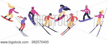Skiers And Snowboarders. Winter Sport Activities, People On Snowboard, Young Skiers And Snowboarders