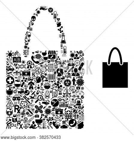 Mosaic Shopping Bag With Health Care Icons And Basic Icon. Mosaic Vector Shopping Bag Is Composed Wi