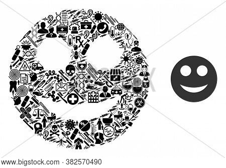 Mosaic Smile Of Healthcare Symbols And Basic Icon. Mosaic Vector Smile Is Composed Of Healthcare Ite