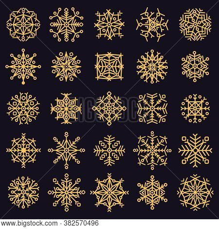 Golden Snowflakes. Winter Frosted Snowflake, Gold Ice Snow Xmas Stars, Cold Falling Snowflake Crysta