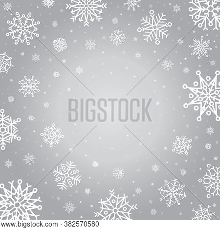 Snowflakes Winter Background. Holiday Silver Frost Snowflake Template, Cold Falling Snowflake Crysta