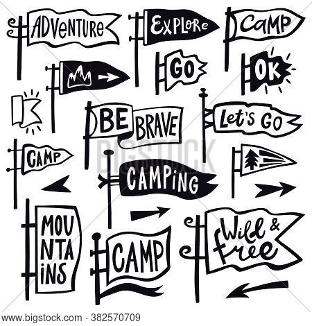 Adventure Hiking Pennant. Hand Drawn Camping Pennant Flag, Vintage Lettering Flags, Tourist Quotatio