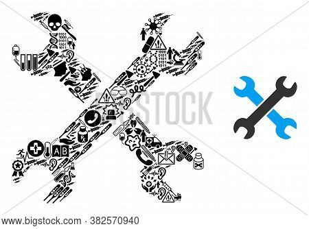 Mosaic Wrenches From Health Care Icons And Basic Icon. Mosaic Vector Wrenches Is Composed From Healt