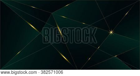 Emerald Luxury Gold Background. New Year Christmas Celebration Poster. Royal Silver Business Banner