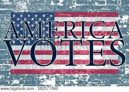 A Blue Stone Wall American Flag America Votes Poster Board Invite Slide Card