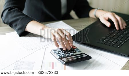 Accountant Checking Financial Statements. Finance. The Concept Of Accounting.