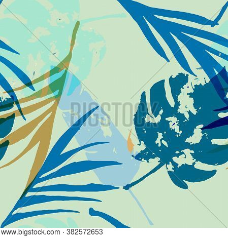Palm, Banana Leaves Vector Seamless Pattern, Blue, White, Yellow Exotic Floral Print. Brushed Jungle