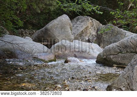 Nature Landscape With Beautiful Cascades Of Mountain Creek Among Lush Thickets In Forest. Idyllic Gr