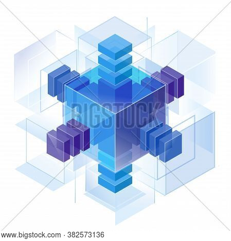 Three Directions Of Measurement Axes, Assembled Into A Block Puzzle Construction. A Crystalline Hedg