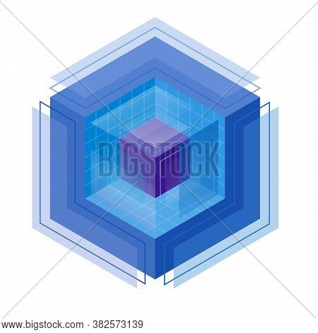 Cubic Isometric Logo. Magic Crystal Of Wisdom Of Management. Three-dimensional Colorful Cube In The