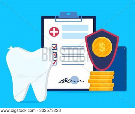 Flat Vector Illustration Of Dental Insurance Or Contract Of Medical Teeth Treatment Services. Clipbo