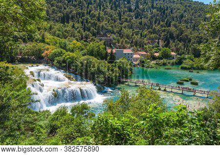 Wonderful Waterfall Skradinski Buk On A Sunny Day. View From Above. Krka National Park, Croatia.