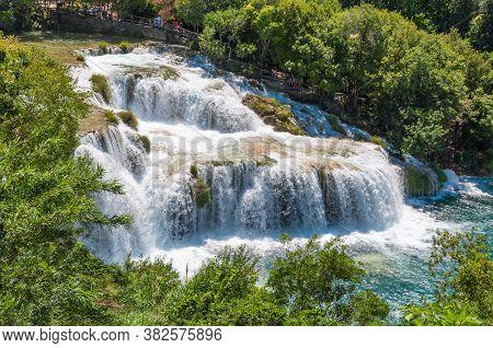 A Beautiful Waterfall Skradinski Buk On A Sunny Day. View From Above. Krka National Park, Croatia.