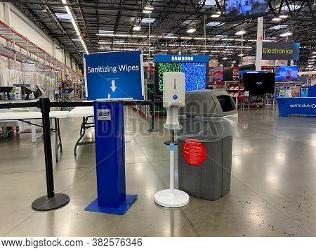 Orlando,fl/usa- 8/12/20:   A Hand Sanitizer Station At The Entrance Of A Sams Club In Orlando, Flori