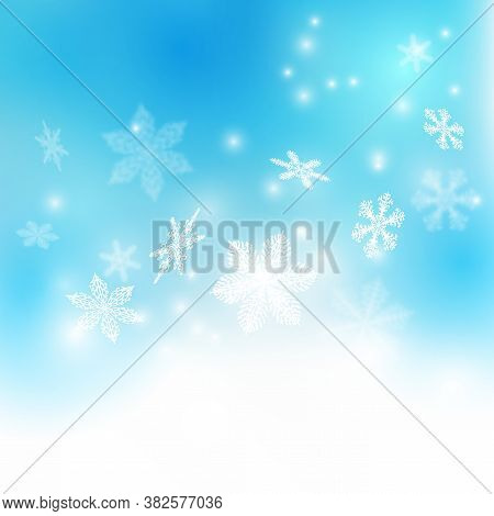 Snowflakes Shine In The Light. Falling Snowflakes. Snow Background. Winter Glitter Background With S