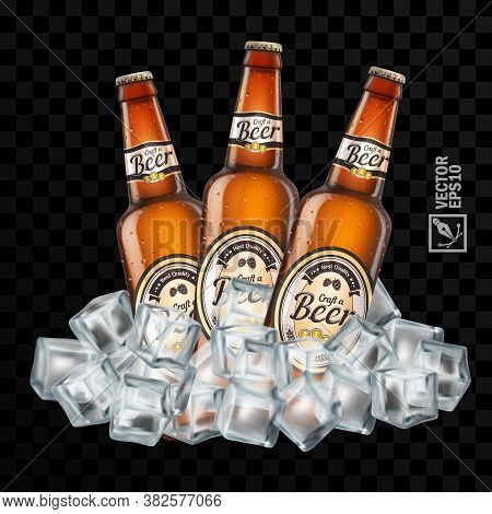 3d Realistic Transparent Brown Beer Bottles With Label In Ice Cubes