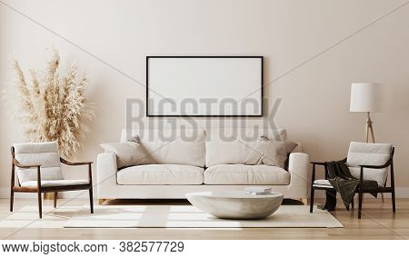 Blank Picture Frame Mock Up In Beige Room Interior , 3D Rendering.